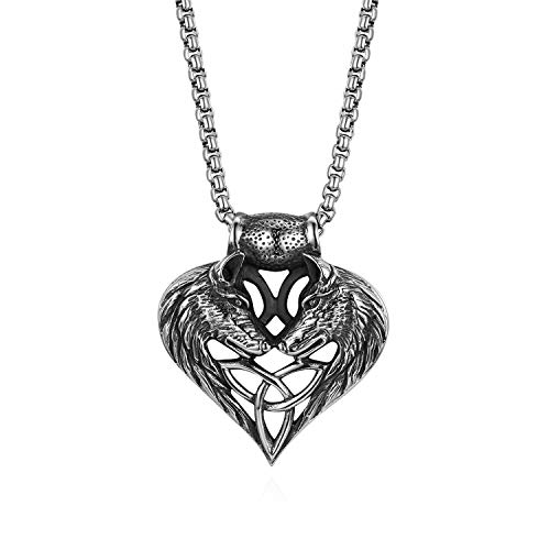 (Cupimatch Wolf Head Heart Celtic Knot Amulet Pendant Necklace Chain Jewelry 22
