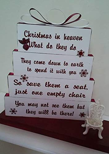 Snow White Prints - Christmas in Heaven, save them a seat, one empty chair, Christmas White, with burgandy print and snowflakes, burgandy and white ribbon with small antique chair
