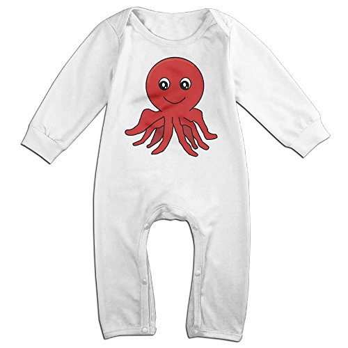 Haru Red Cartoon Octopus NewBorn Boy's & Girl's Long Sleeve Jumpsuit Outfits White 6 M