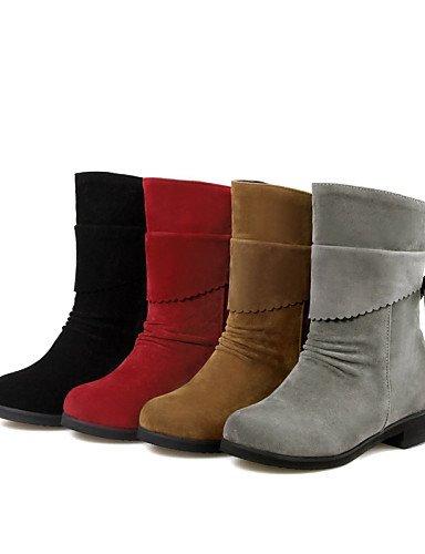 Cn34 Femme Décontracté Bottes Talon Chaussures Xzz Habillé Eu35 Gros Noir Arrondi Black Mode Uk3 Gris Jaune À La laine Bout Rouge us5 q51BFw