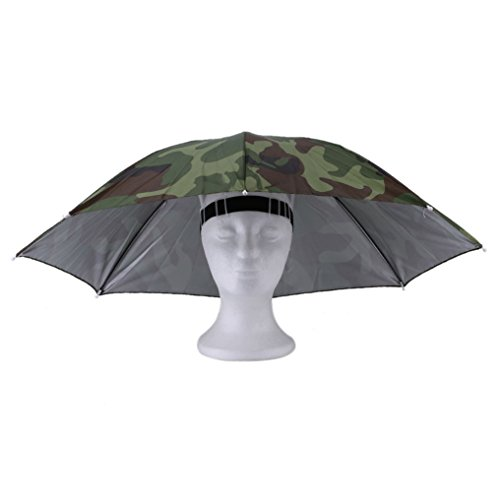 Khannika Adjustable Head Umbrella Hat for Women – With Head Strap for UV Rain Protection Fishing Hiking Golf Beach Headwear Outdoor Handsfree ()