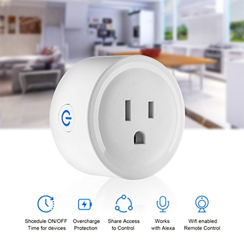 1A1 Mini Smart Wifi Plug compatible with Amazon Echo Alexa, Google Home and IFTTT. Wifi networks: 2.4 - 5 GHz. Voltage: 100 - 240 V. Electrical Power Switch