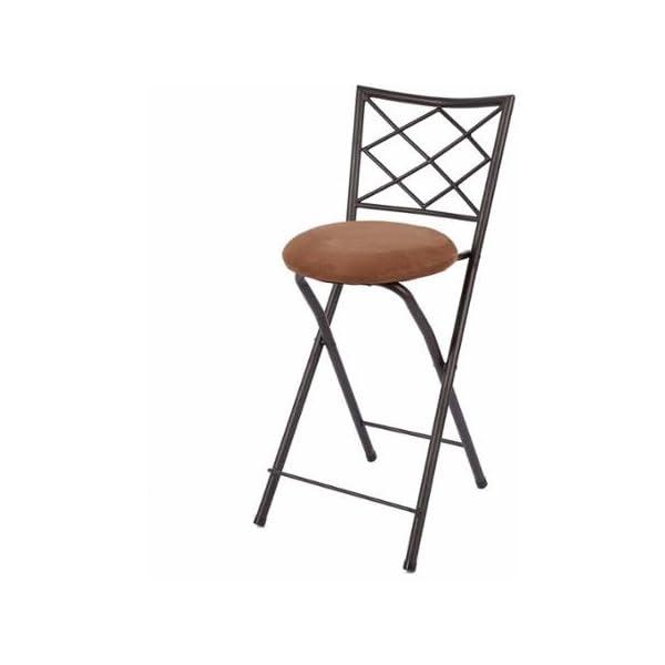 "Diamond X-Back Folding 24"" Counter Stool, Bronze with Beige Microfiber Cushion (Tan)"