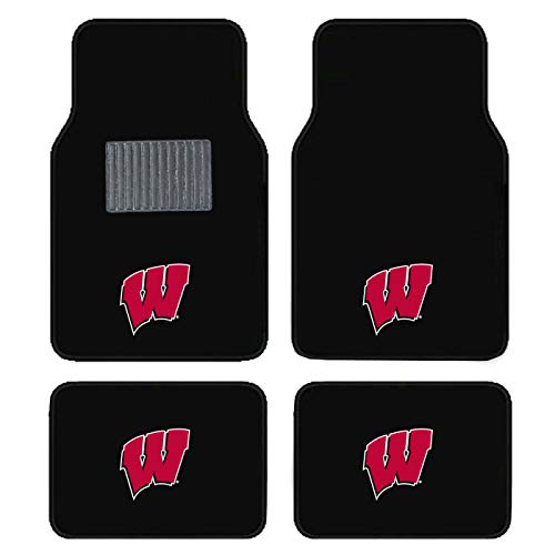 - SLS Newly Released Licensed University of Wisconsin Embroidered Logo Carpet Floor Mats. Wow Logo on All 4 Mats.
