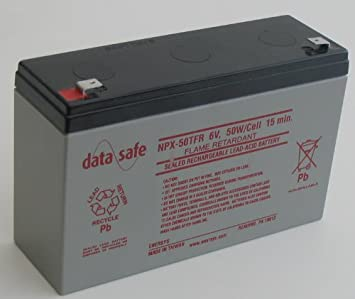 DataSafe NPX-50TFR 6 Volt//50 Watts per Cell Sealed Lead Acid Battery with 0.250 Fast-on Connector Flame Retardant Case