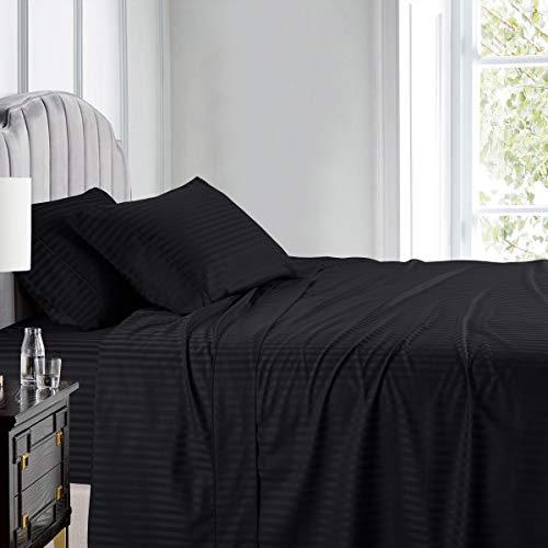 (Royal Hotel's Stripe Black 600-Thread-Count 4pc Queen Bed Sheet Set 100% Cotton, Sateen Stripe, Deep Pocket)