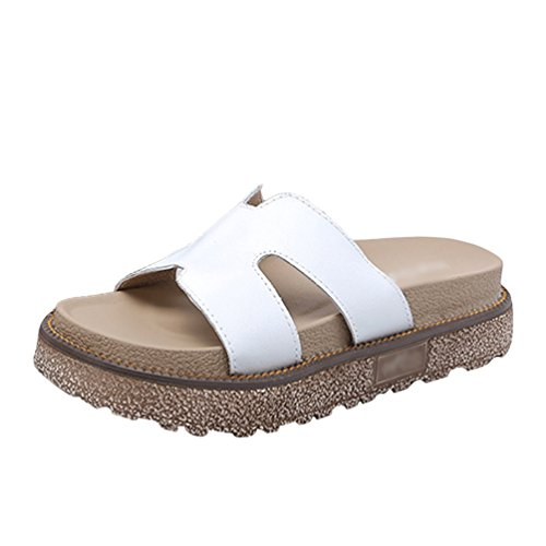 de Tacón Compras de LINNUO mujer Playa Blanco caminar Plataforma para Sandalias plana cuña Zapatos Cuero Zapatilla Forma Verano Casual para imitación Iqwt4Byw