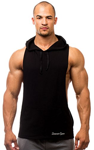 Hoody(Black-S) Y-Back Cotton/Lycra Stringer Tank-Top-Style Savage Hoodie