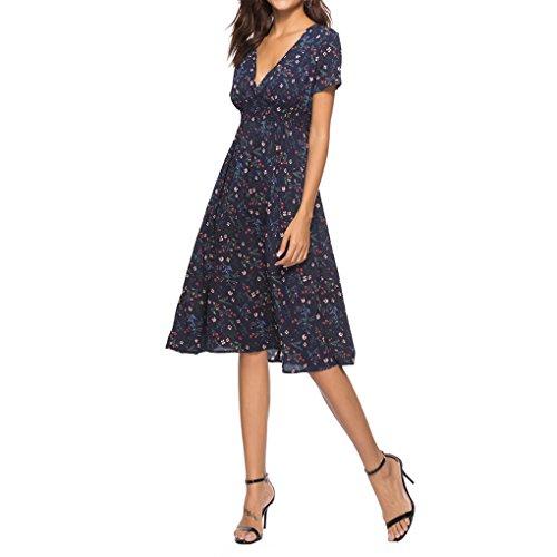 Women's Chiffon Floral Print Short Sleeve Sexy Deep V Neck Cross Wrap Midi Dresses Empire Waist Tea Length Dress (Cross Wrap)