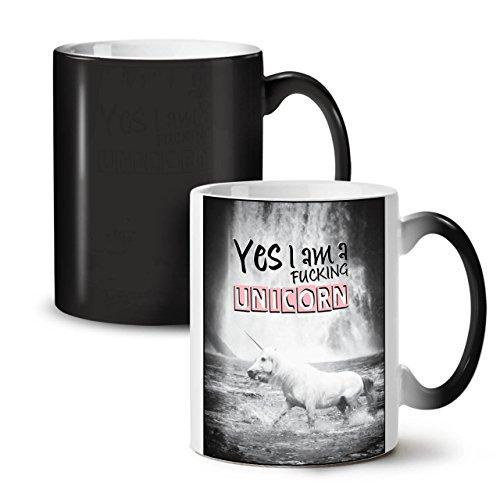 Yes Im A Unicorn Fun Myth Horse Black Colour Changing Tea Coffee Ceramic Mug 11 oz   Wellcoda