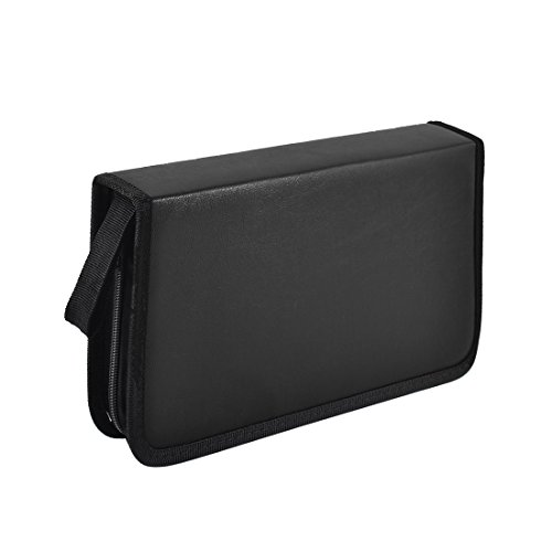 uxcell Faux Leather Home Car 80 Capacity VCD DVD CD Wallet Bag Holder - Storage Leather Faux Cd