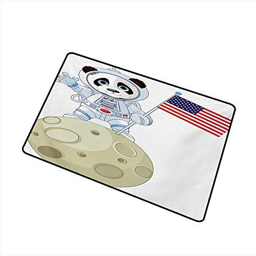 Pet Door mat Panda Panda Astronaut on The Moon Holding USA Flag Moonwalk Imagination Fantasy Picture W20 xL31 with Anti-Slip Support