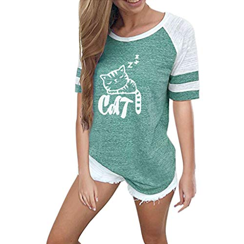 〓COOlCCI〓Women's Color Block Long/Short Sleeve T Shirt Casual Round Neck Tunic Tops Blouses with Stripe &Cat Green