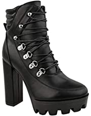 Fashion Thirsty Womens Ladies High Block Heel Platform Ankle Boots Black Goth Punk Lace Up