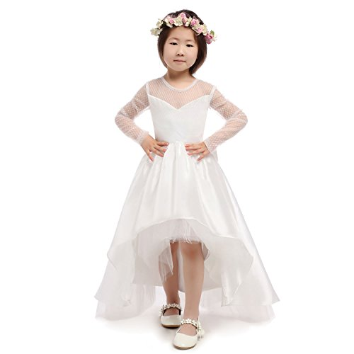 Pagent Dresses For Kids (CEZOM High Low White Ivory Flower Girl Dresses First Communion Pagent Dress with Long Sleeves)