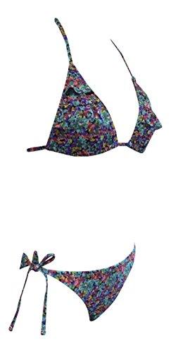 Mujer escotada del triángulo superior e Fondo bikini Conjunto Floral