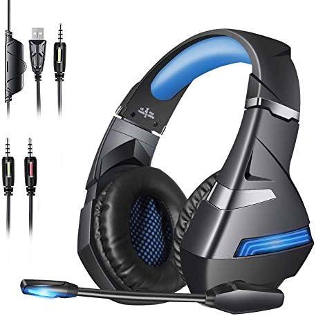 ゲーミングヘッドセットPS4ヘッドセット、マイク付き、調整可能なヘッドバンド、サブウーファー3.5 mmジャック、LEDライト、ボリュームコントロール、低ノイズPS4 / Xbox One/Nin