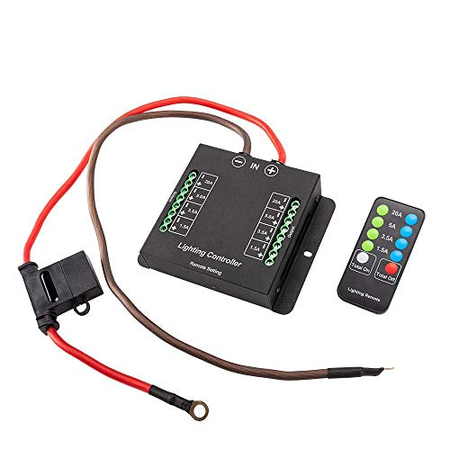 Wiring Control Box Wiring Hamess Kit with Fuse Relay and FREE Wireless Remote Control - Electronic 8 Relay System Module Source Control System for up to 8 Accessories and LED Light Bars