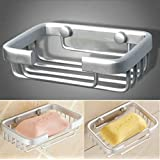 TOTAL HOME Metal Brass Space Wall Soap Holder Bathroom Shower Cup Dish Basket Tray Container (Silver)