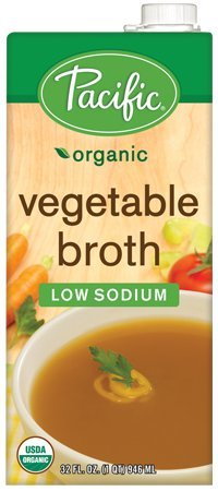 - Pacific Foods Organic Vegetable Broth, Low Sodium, 32oz, 12-pack