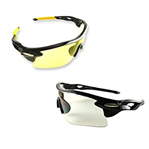 BEST Shooting Glasses UV Blacklight Flashlight Yellow Safety Eye protection by iLumen8. See Dog Cat Urine with Amber Black Lights Night Vision Ultraviolet (Yellow & Clear, 2 Pair)