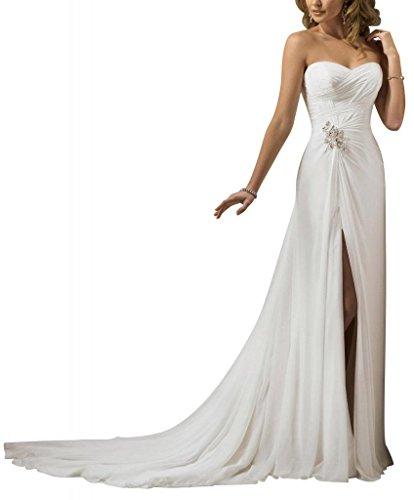 Leichte Voraus Split Hochzeitskleider GEORGE Elfenbein ueber Brautkleider Chiffon BRIDE Schatz Satin qaw5B6