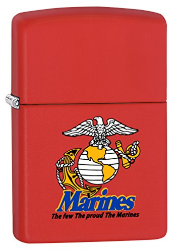 Zippo USMC Logo Red Matte Pocket Lighter