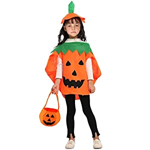 3PC Halloween Costumes for Kids Pumpkin Costume Gift, Shellvcase Pumpkin Costume for Girls Boys Cosplay Party Clothes…