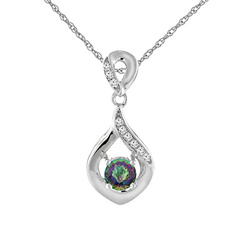 (Sabrina Silver 14K White Gold Natural Mystic Topaz Necklace with Diamond Accents Round 4)