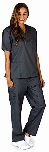 Natural Workwear Uniform Unisex Medical Nurse Scrub Set, Pewter 38750-XXX-Large (Scrub Sets Plus Size Women)