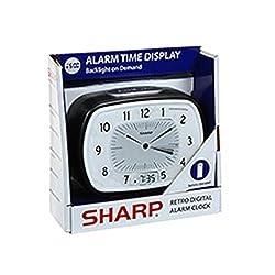 Sharp Retro Digital Analog Alarm Clock Black and White