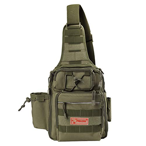 Fiblink Waterproof Sports Single Shoulder Fishing Tackle Bag Backpack or Handbag Chest Daypack Crossbody Messenger Sling Bags for Hiking Camping (Khaki) - Fly Fishing Tackle Bags