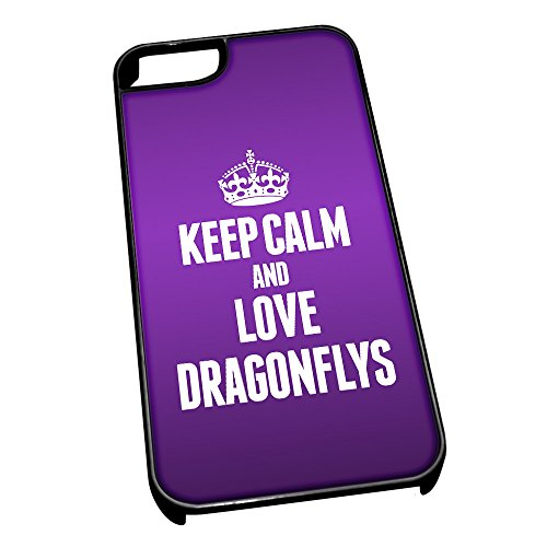 Nero-Cover per iPhone 5/5s, motivo: 2421 Keep Calm and Love libellule