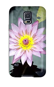 Top Quality Case Cover For Galaxy S5 Case With Nice Water Flower Beautiful Pink Lilly Green Leaves Nature Flower Appearance wangjiang maoyi