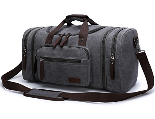 Aidonger Unisex Canvas Travel Bag Duffel Bag Weekend Bag with Strap (Gray-04)
