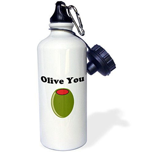 3dRose wb_200854_1 Olive You Sports Water Bottle, 21Oz, Multicolored