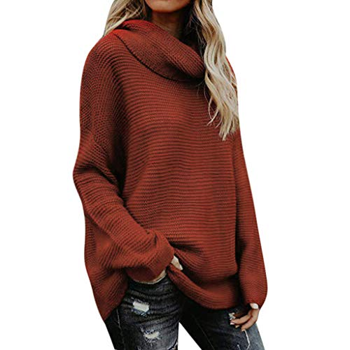 SEXYTOP Women's Winter Casual Solid Color Turtleneck Knit Long Sleever Sweater Loose Shirt Tops Khaki
