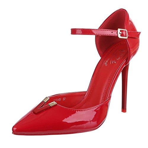 Ital-Design High Heel Pumps Damenschuhe High Heel Pumps Pfennig-/Stilettoabsatz High Heels Klettverschluss Pumps Rot 5015-45