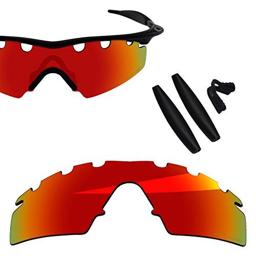 Vented Strike Accessory Lens - BlazerBuck Anti-salt Polarized Replacement Lenses & Sock Kit for Oakley M Frame Strike - Vented Fire Red