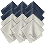 MR.SIGA Premium Microfiber Cleaning Cloths for Lens, Eyeglasses, Screens, Tablets, Glasses, 12 Pack, 6 x 7 inches (15 x 18 cm), Navy/Gray