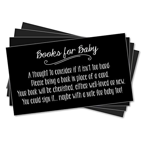 25 Books for Baby Request Inserts for Shower Invitations - Neutral Unisex - Black Chalkboard ()