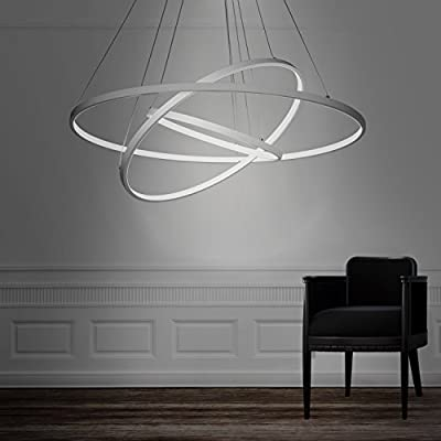 Unitary Brand Modern Acrylic Silvery LED 3 Rings Pendant light with Max 90W Chrome Finish