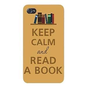 Iphone Custom Case 5 / 5s White Plastic Snap on - Keep Calm and Read a Book Bookshelf
