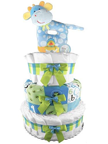- Giraffe Safari Diaper Cake - Boy Baby Shower Gift - Blue and Green