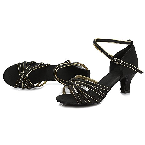 5cm Dance Shoes Roymall Latin Model Satin Black Womens gold 213 gngUt0Bq