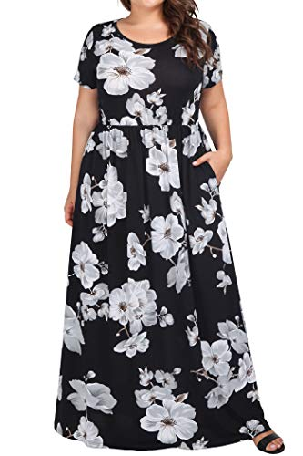 Long Dress for Pregnant Women Plus Size Holiday,Kissmay Leaf Print Pretty Weddinng Dresses Short Sleeves Round Neckline Maxi Dress Pleated Aline Summer Swing Daily Casual Womens Maxi Dresses Black 24W