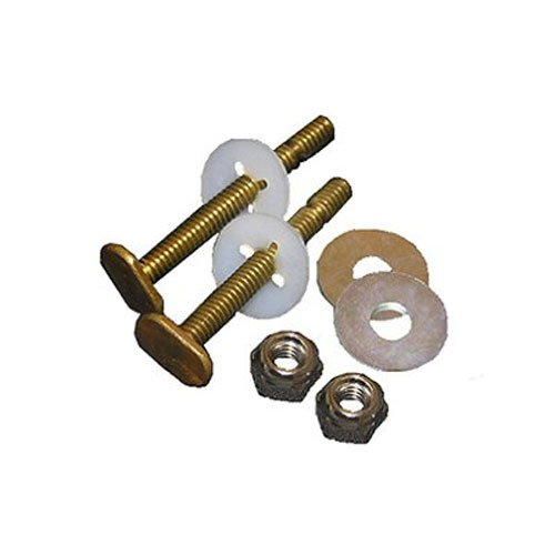 LASCO 04-3645 Solid Brass 5/6-Inch by 2-1/4-Inch Heavy Duty Bolts with Nuts and Washers Toilet Bolts (Screws Brass Bolts)