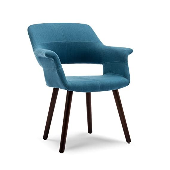 Belleze Accent Chair Living Room Armchair Linen Mid-Century Style Armrest Curved w/Wooden Leg, Blue - Chairs effortlessly elevate decor with a level of interest & mid-century modern appeal that is sure to be the envy of all who see them Expertly crafted, Belleze brings intrigue to the dining, living, den, studio and lounge area. The beautiful wood legs enhance the chair's mid-century modern appeal effortlessly Ergonomically-shaped seat & aesthetically pleasing design truly adds to what makes this a fantastic design - living-room-furniture, living-room, accent-chairs - 41ooHGKFTXL. SS570  -