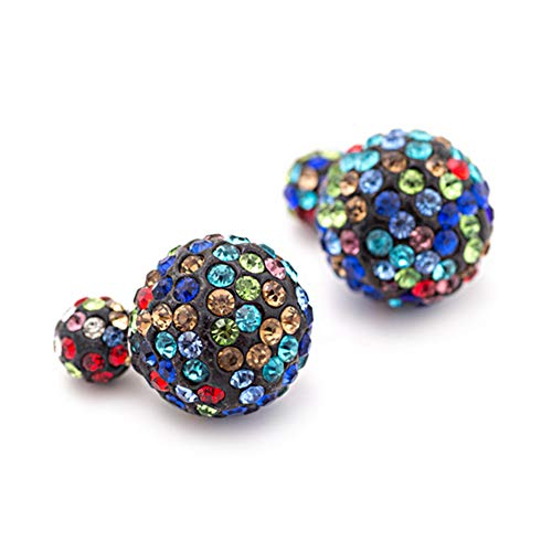 925 Sterling Silver Plated Black Rainbow colored Rhinestones double-sided Shambhala two Balls Stud Post Earrings