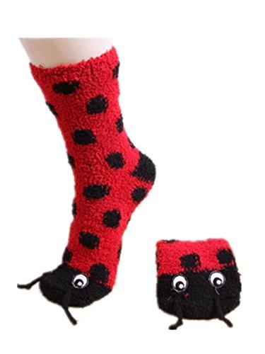 2 Pairs Women Fleece Ladybug Slipper Socks with Grips Anti-skid Boot Socks